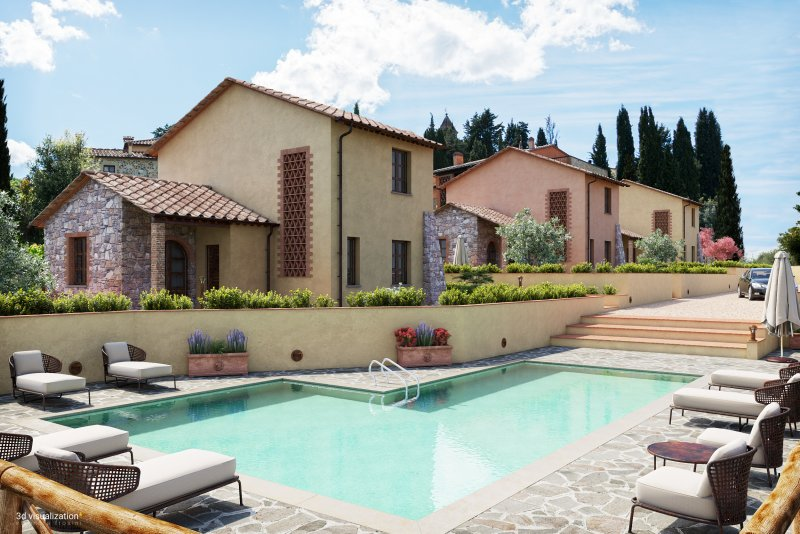 Typical Tuscan style second homes with shared swimming pool
